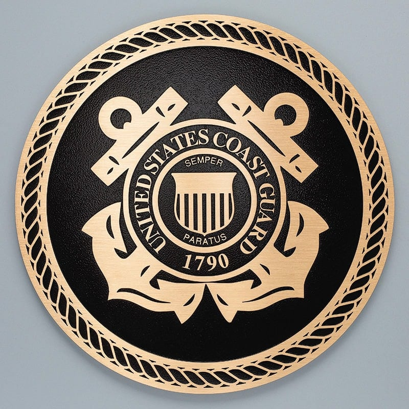 brushed bronze military seal plaque coast guard