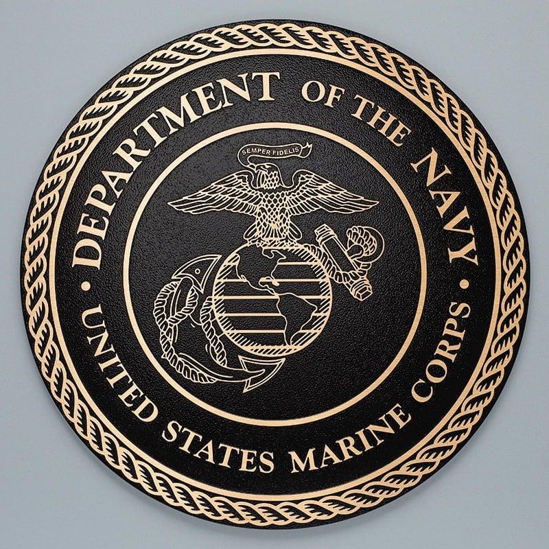 bronze metal plaque military seal marine corps
