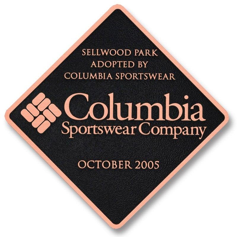 copper metal plaque columbia retail store
