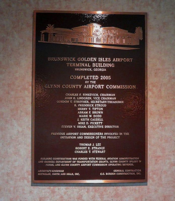 copper metal plaque dedication brunswick airport
