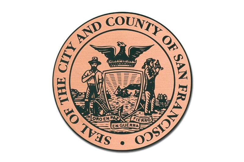 etched copper metal plaque circle seal san francisco