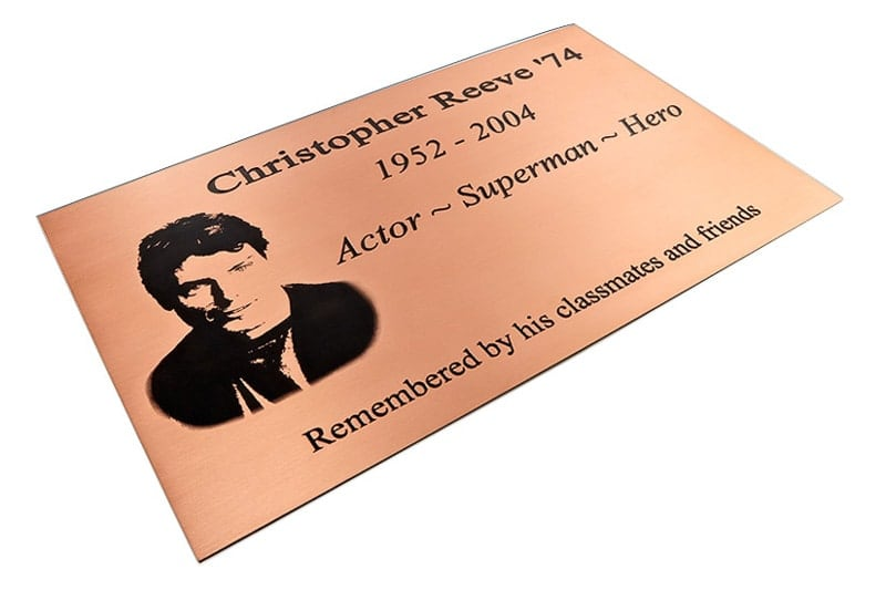etched copper metal plaque commemorative reeve