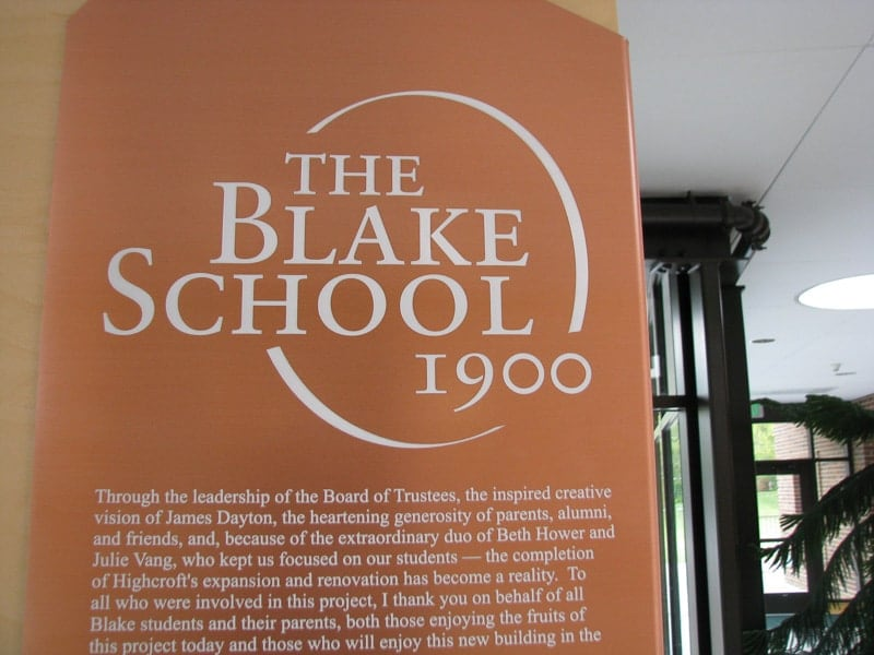 etched copper metal plaque donor blake school 2