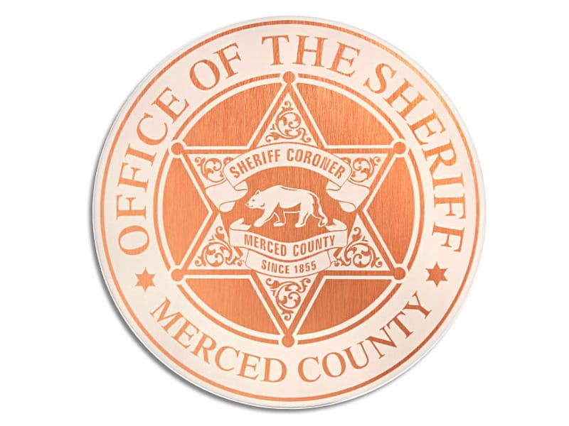 brushed copper laser engraved etched plaque for sheriff department star