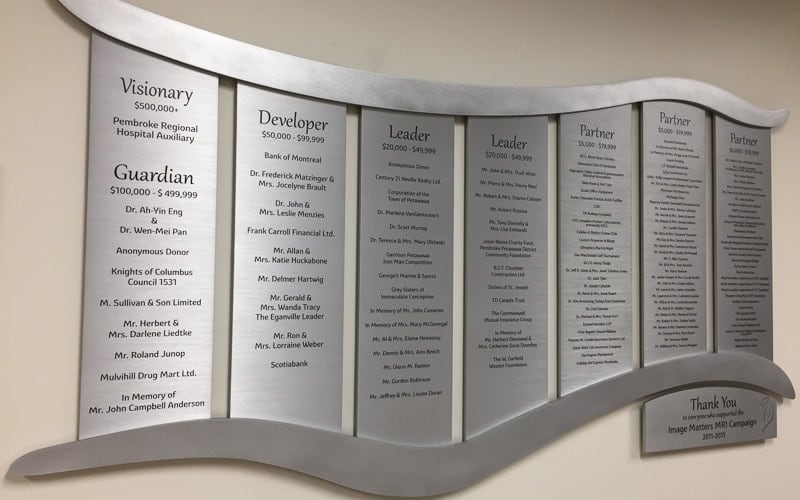 etched stainless steel metal plaque donor wall mri
