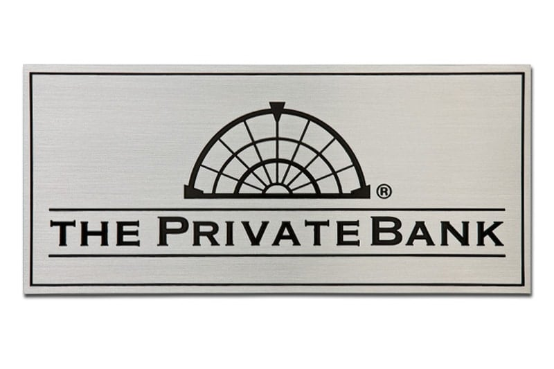 etched stainless steel metal plaque private bank