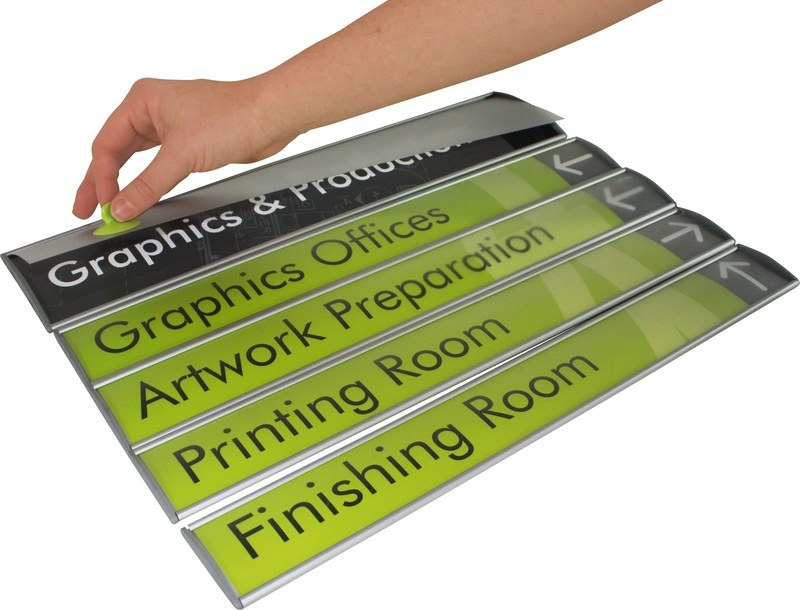 curved wall directional wayfiniding sign removable face