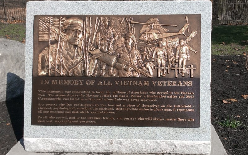 cast bronze plaque with custom bas relief portrait of veterans of vietnam