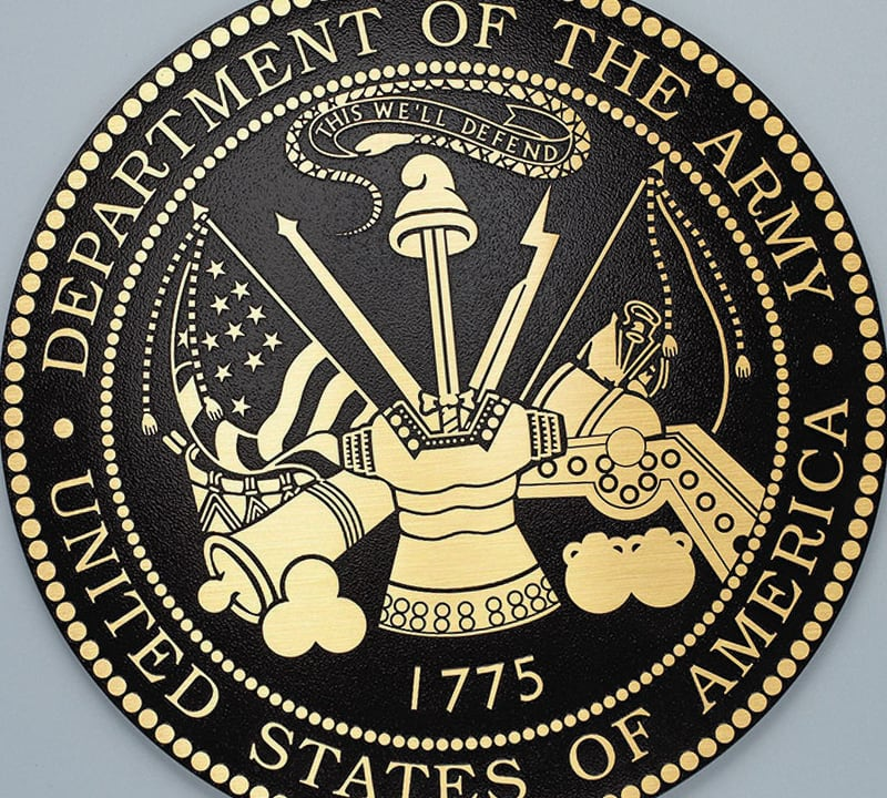 cast brass army seal military plaque