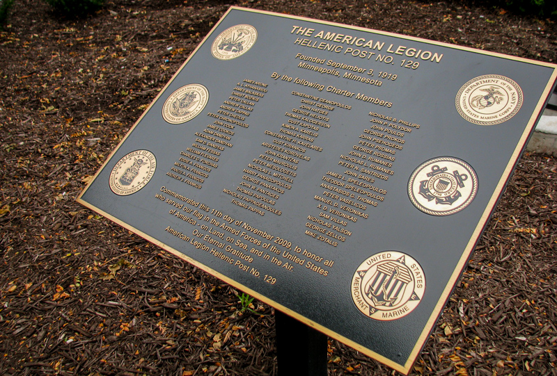 cast brushed bronze plaque for american legion with etched military seals
