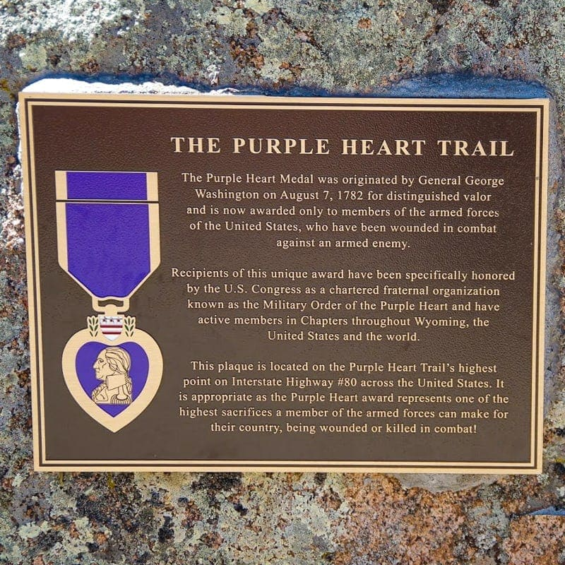 cast bronze plaque in brushed finish with purple heart emblem for memorial