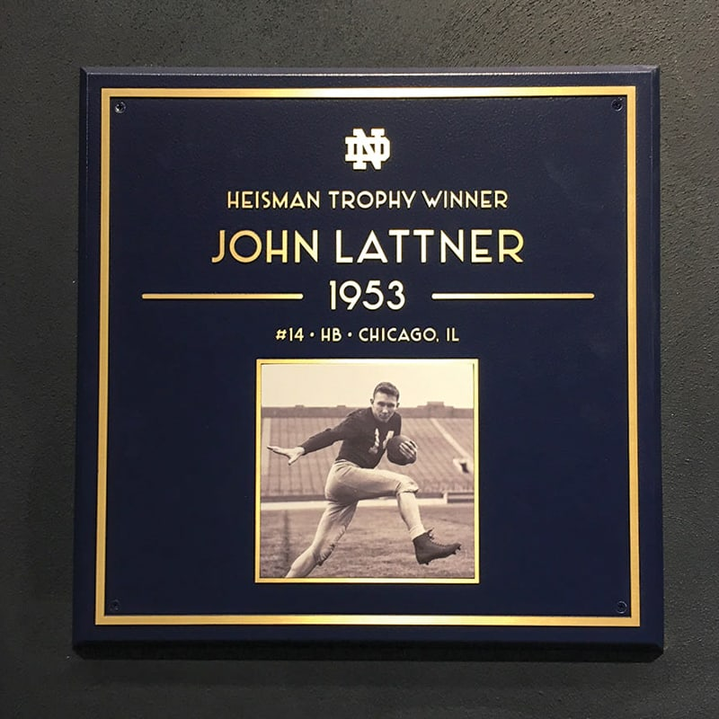 bronze plaque in raised brushed finish with blue background and giclee photo for notre dame football lockeroom