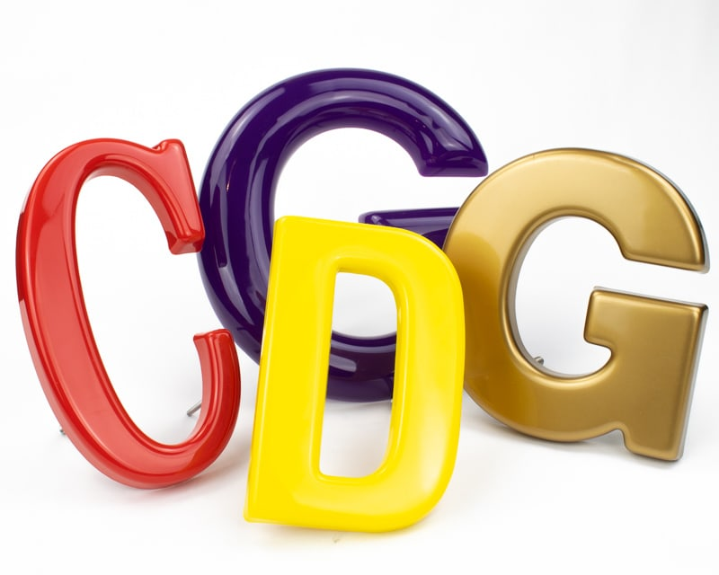 formed plastic letter options gold purple red and yellow in different font styles and sizes