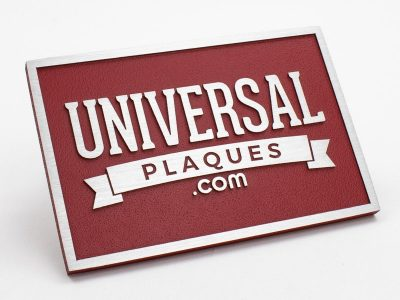 brushed aluminum metal plaque with red background sample