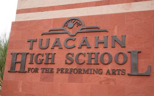 thick custom formed plastic letters and logo in bronze color mounted outside high school wall