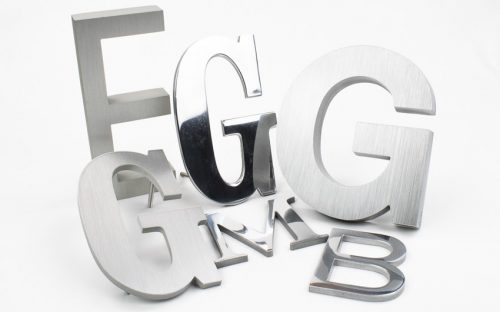 aluminum letter options in brushed and polished chrome mirror finish