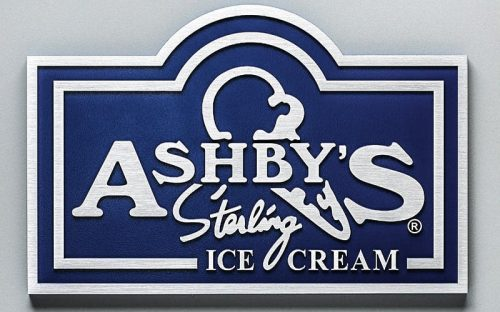 Brushed Cast Aluminum Metal Plaque with custom shape for ice cream store