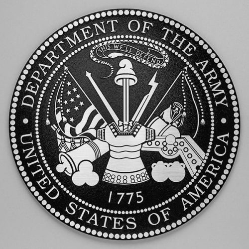 cast aluminum metal army seal military plaque