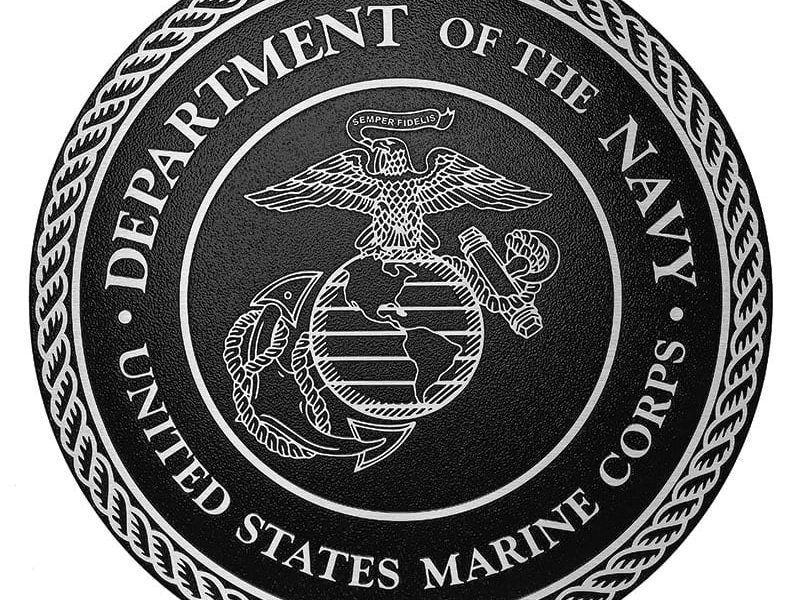 Brushed Cast Aluminum Metal Plaque for Marine Corp military seal with Painted Black Background