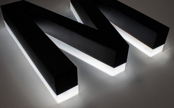 edge lit acrylic letters with white LEDs painted black