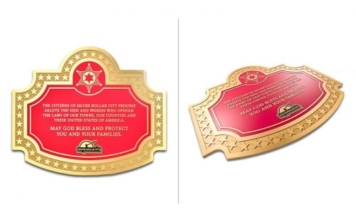 brushed cast brass plaque with red background for silver dollar city