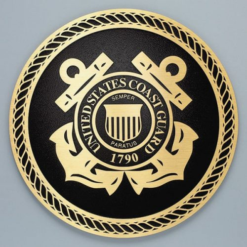 cast brass coast guard seal military plaque