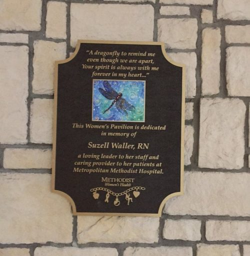 cast brushed bronze plaque with color photo loved one rememberance outside hospital