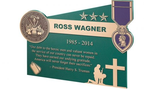 cast brushed bronze plaque for military memorial rememberance of purple heart recipient