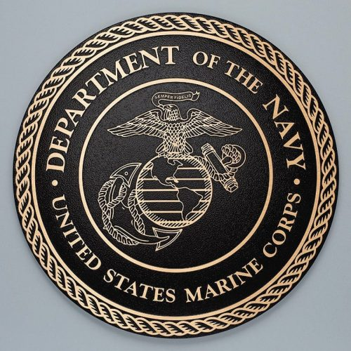 brushed bronze military seal plaque marine corps