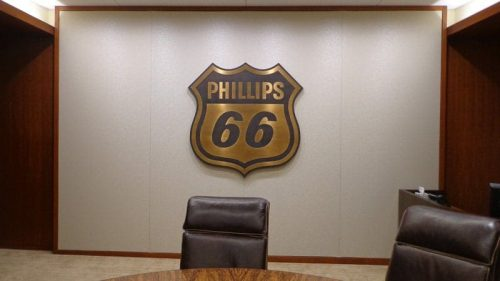 oxidized oil rubbed bronze plaque for phillips 66 conference board room
