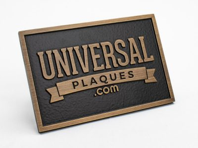 Bronze Plaque with Brushed Oxidized Oil Rubbed Finish with raised text