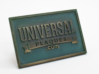 Bronze Plaque with Natural Verde Turquoise Patina with raised text