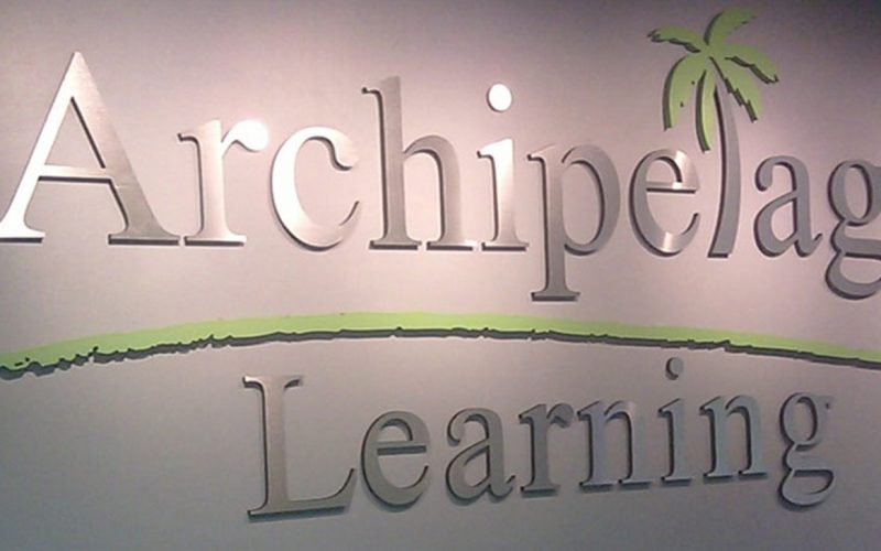 brushed aluminum metal letters and logo for school lobby wall