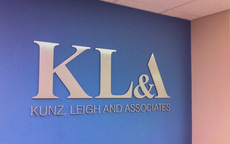 brushed solid cut aluminum letters for inside law office lobby wall