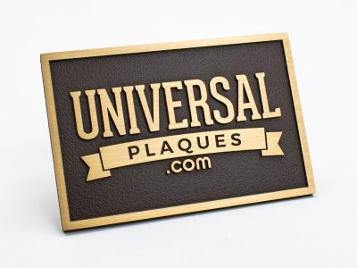 Brushed Bronze Plaque with Brown Background with raised text