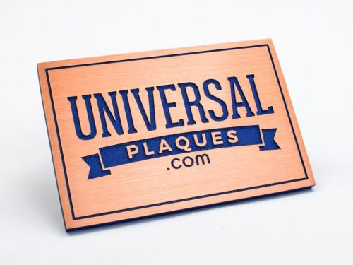 brushed copper plaque sample with blue background