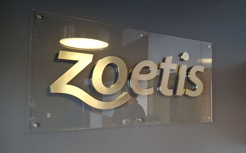 thick brushed stainless steel metal letters mounted on clear acrylic panel for interior lobby sign