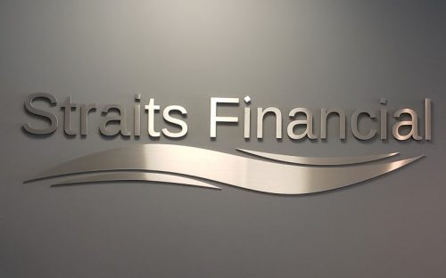 brushed stianless steel custom logo and letters for interior lobby sign
