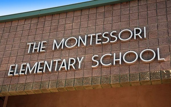 thick Brushed Cast Aluminum Letters in roffi font style for montessori school mounted outside on brick