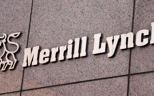 cast bronze letters mounted on stone outside merrill lynch bank