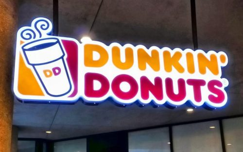 Front Lit Channel Logo with a suspended mount for dunkin donuts storefront