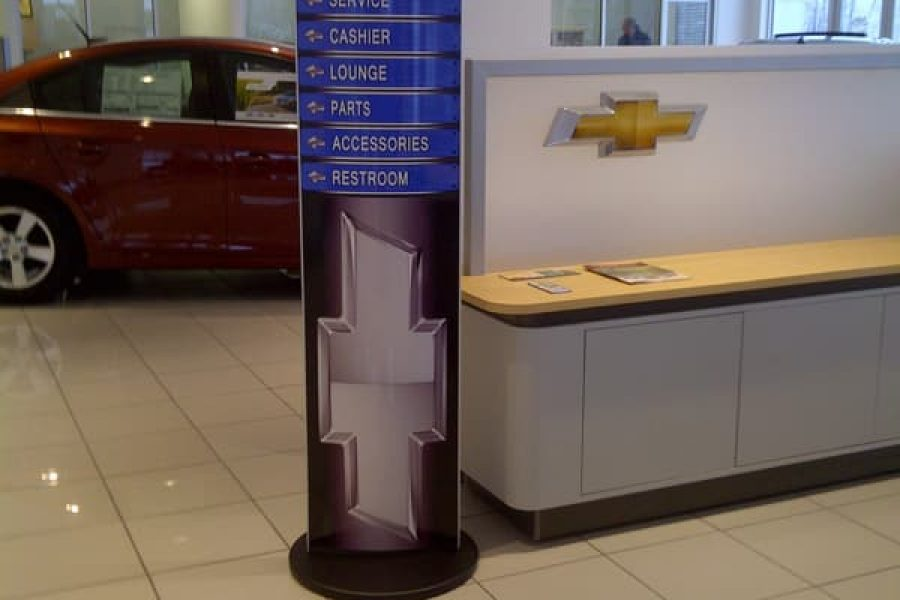 stading pylon tower with removable face for car dealership