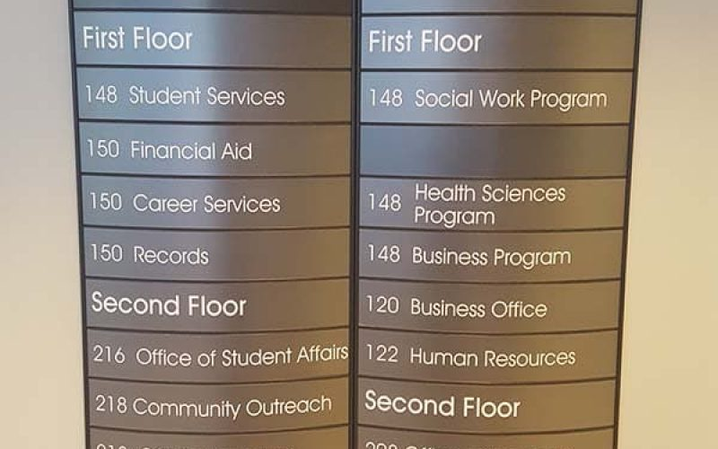 curved wall directory wayfiniding sign for university