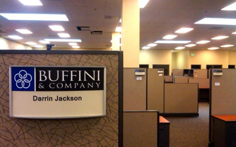 curved wall sign for office cubicle