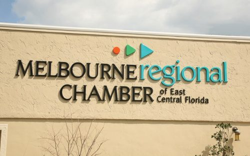 formed plastic letters in custom font and custom colors outside florida government building