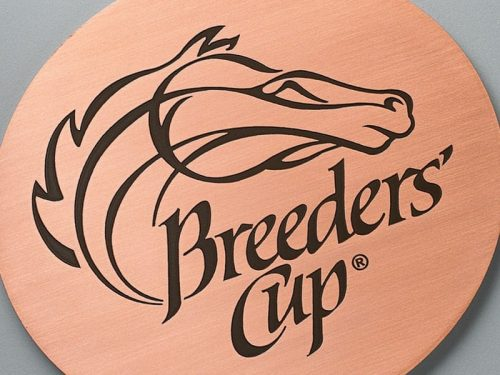 etched copper plaque with brown background for breeders cup