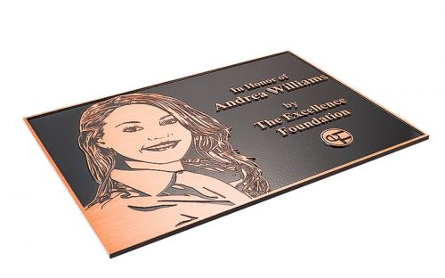 etched brushed copper plaque with flat relief etched portrait for award