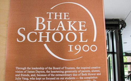 etched copper plaque for donnor wall inside school