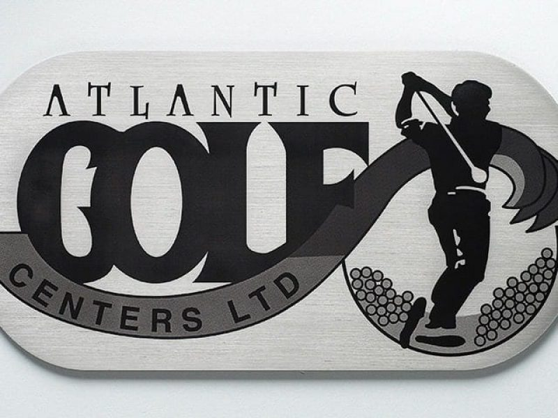 brushed etched stainless steel plaque with black background for golf course