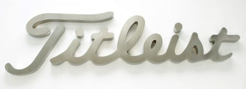 thick fabricated brushed stainless steel letter logo for titleist golf logo